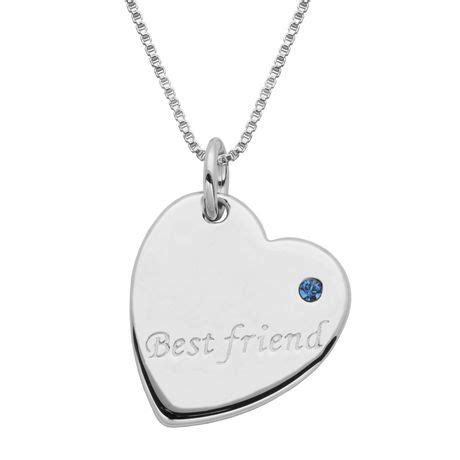 sterling silver quot best friend quot blue rhinestone accent