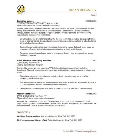 event planner page2 non profit resume sles