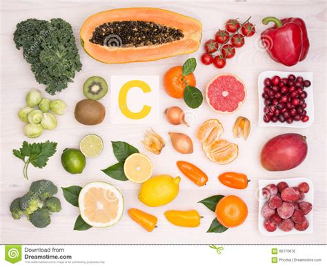 vitamin c vegetables and fruits fruits and vegetables containing vitamin c stock photo