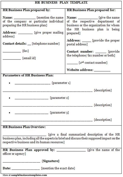 hr business plan template sle business templates