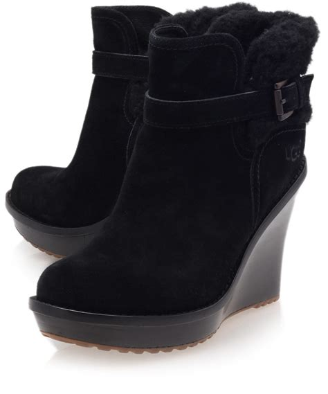ugg boots for black ugg black anais wedge boots in black lyst
