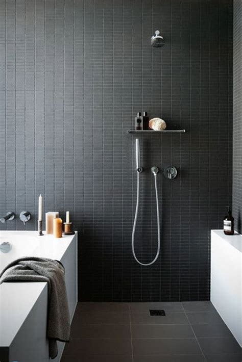 35 Black Slate Bathroom Wall Tiles Ideas And Pictures Black Tile Bathroom Ideas