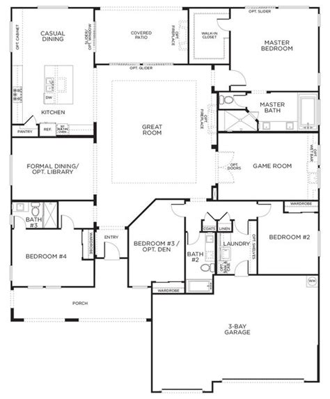 Floor Plan One Story | love this layout with extra rooms single story floor