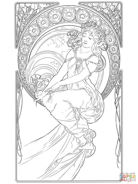 painting by alphonse mucha coloring page free printable