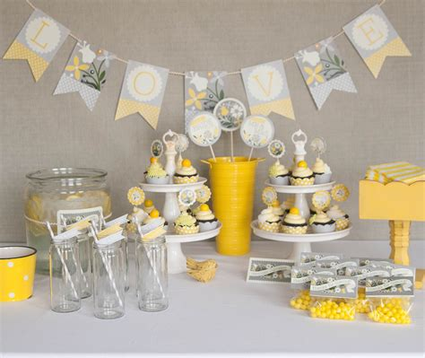 yellow decor bridal shower decorations printable yellow gray by