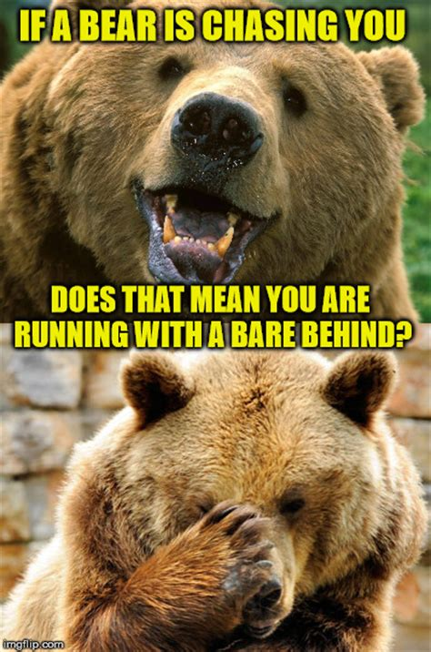Running Bear Meme - bad pun bear imgflip