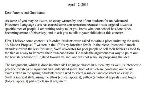 Satirical Essay by Pdf County High Principal S Letter To Parents About Student S Controversial Satirical