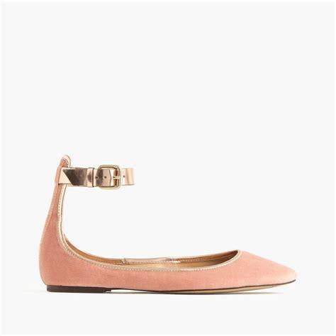 Molinari Glitter Pumps by Lyst J Crew Velvet Ankle Ballet Flats In Pink