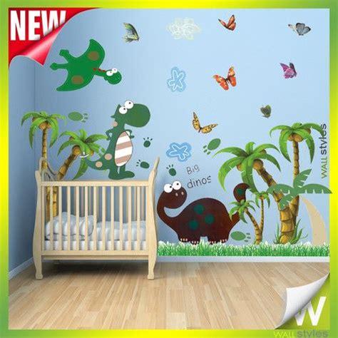 dinosaur wall decals for rooms dinosaur animal vinyl wall stickers palm trees decor for nursery room ebay 163 12 49