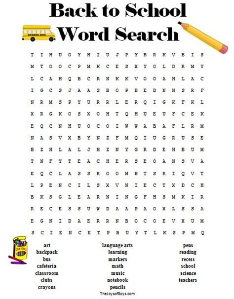 printable word searches for junior high back to school crossword puzzle printable free back to