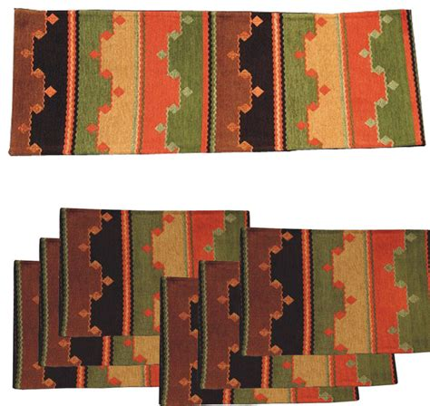 southwestern table runners quot tarak quot southwest table runner with placemats set of 7