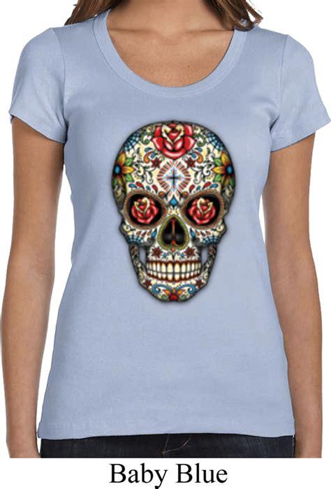 Skull The Shirt skull shirt sugar skull with roses scoop neck t