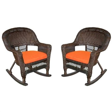 Orange Rocking Chair Cushions by Jeco Rocker Wicker Chair In Espresso With Orange Cushion
