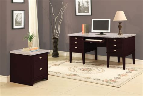marble top computer desk britney marble top home office desk in espresso finish by