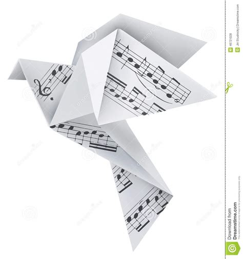 Banknote Origami - origami pigeon with musical notes stock vector image