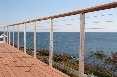 premade banister pre made cable railing posts beach style patio other