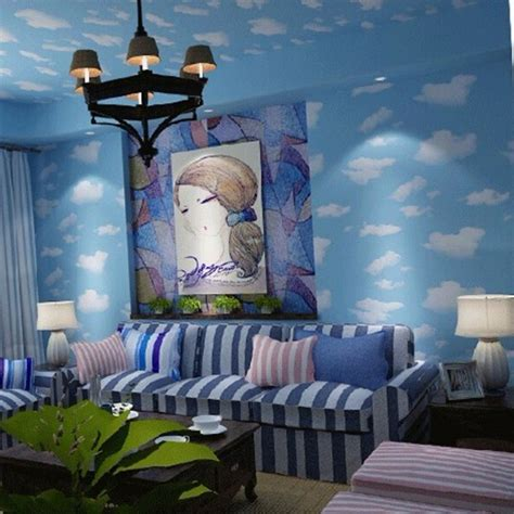 sky wallpaper for bedroom beibehang blue sky wallpaper blue sky roof minimalist