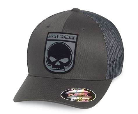 Topi Trucker Harley Davidson 2 99410 16vm harley davidson trucker cap rubber skull grey at thunderbike shop