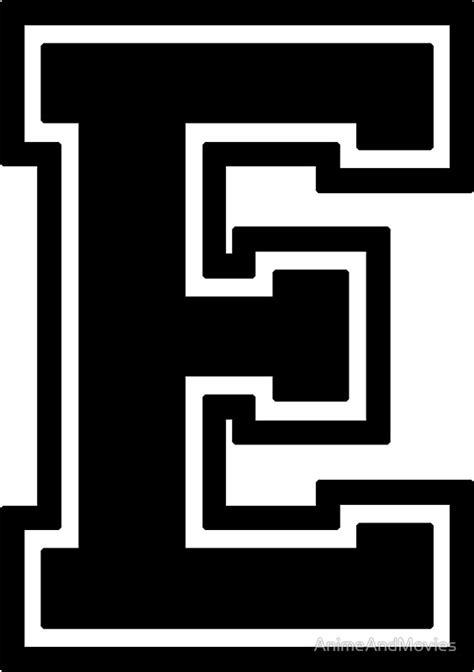 College Home Decor by Quot Letter Quot E Quot Varsity Collegiate Font Black Print