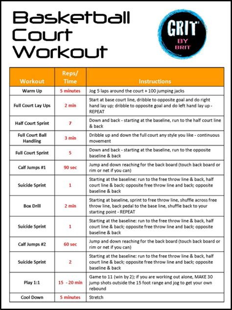 printable volleyball workouts basketball court workout from grit by brit oh reading