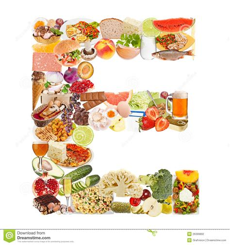 up letter with food letter e made of food stock photography image 26399892