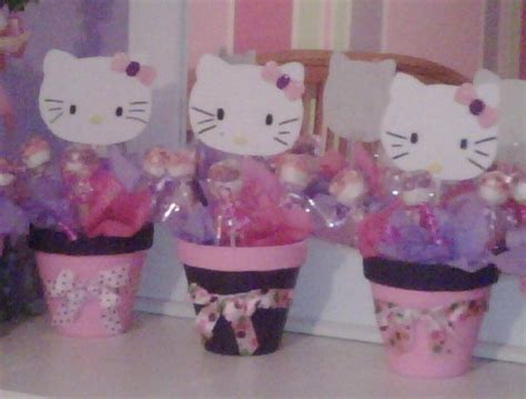 Hello Kitty Centerpieces With Marshmallow Lollipops Hk Hello Centerpieces For Birthday