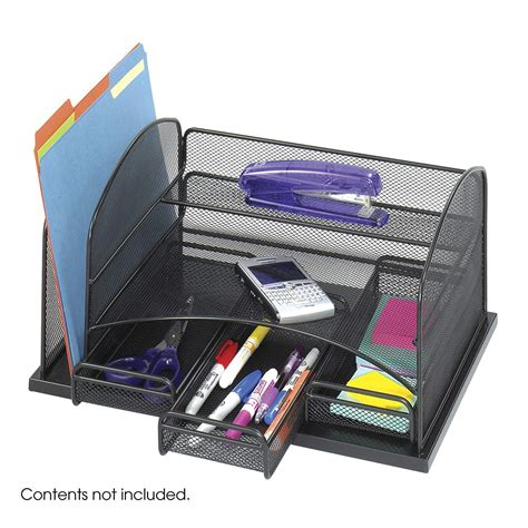 safco products onyx mesh desk organizer with 3 drawers