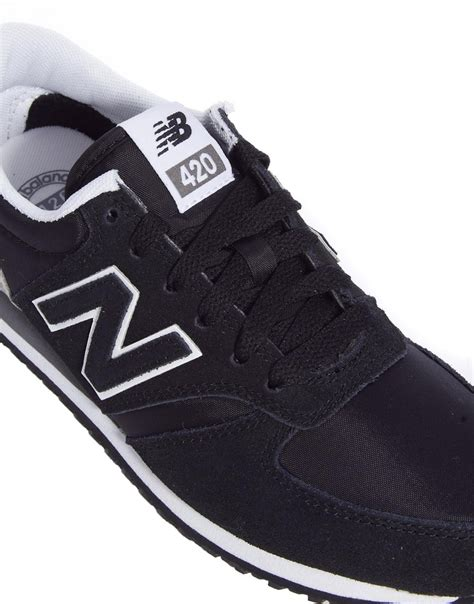 new balance black and gray 420 suede mix sneakers in gray