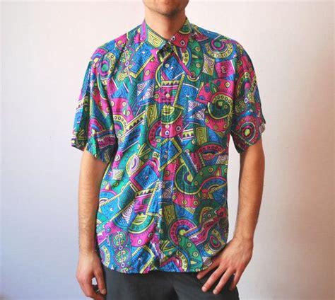 colorful shirt vintage colorful neon shirt 90s unisex size medium