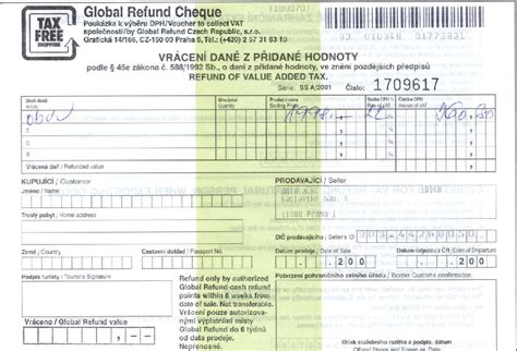 Vat Refund In The Czech Republic Consulate General Of The Czech Republic In New York Vat Return Form Template