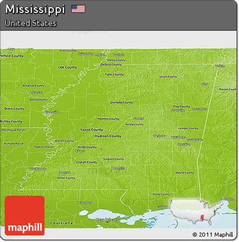 physical map of mississippi free physical panoramic map of mississippi