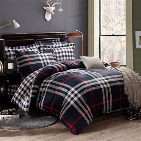 bedding for men dark blue white and red southwestern tartan plaid print