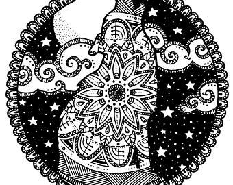 intricate wolf coloring pages intricate coloring etsy