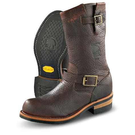 bike boots for mens s chippewa 174 11 quot bison engineer boots briar brown