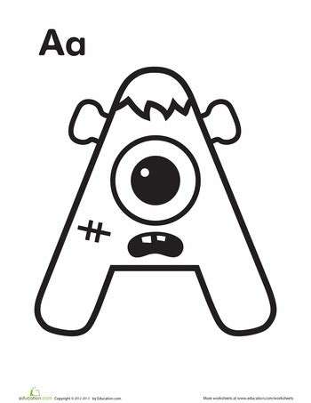 halloween alphabet coloring pages monster monsters worksheets and learning