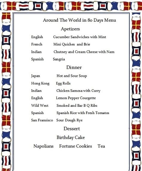 80s dinner menu 26 best images about 80 days around the world on