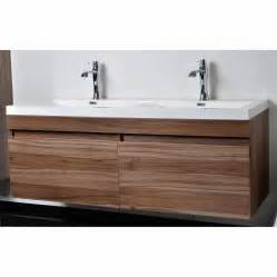 modern bathroom vanity set with wavy sinks in walnut tn
