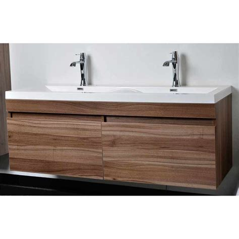 Modern Bathroom Vanity And Sink Modern Bathroom Vanity Set With Wavy Sinks In Walnut Tn