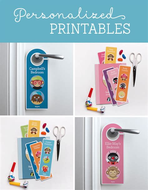 personalized printable bookmarks door hangers tinyme
