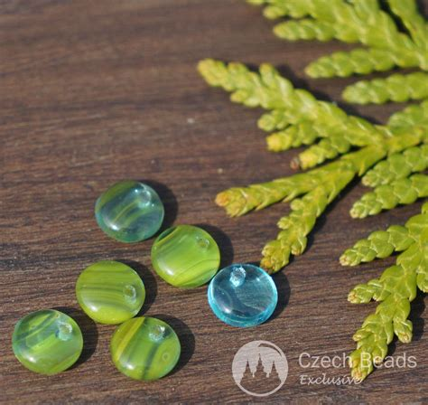 Mix Turquoise mix green turquoise glass disk flat