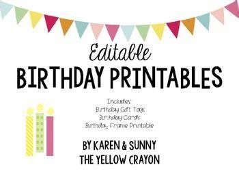 printable editable birthday cards editable birthday printables