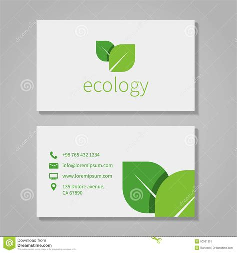 illustration business card template ecological or eco energy company business card stock