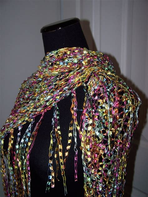 pattern for ladder yarn shawl knit shawl ladder ribbon yarn wrap triangular by