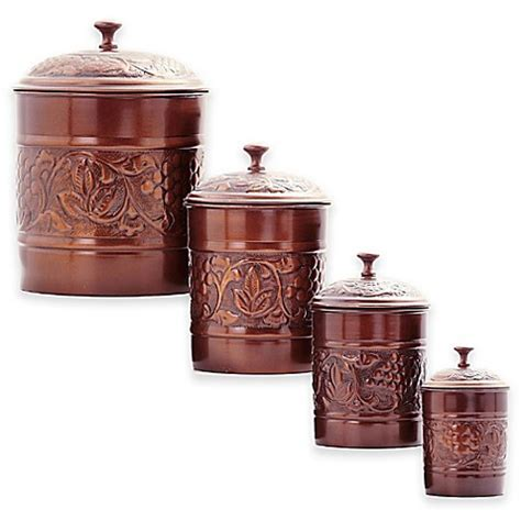 old dutch 4 pc copper kitchen canister set old dutch international 4 piece antique embossed heritage