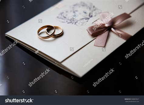 wedding sts for card wedding rings on invitation card rings stock photo