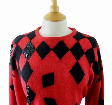 bright knitted 80s wool and angora sweater