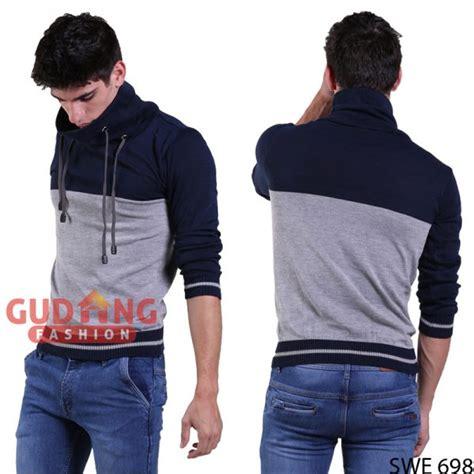 Viko Navy Sweater Rajut Pria sweater pria kerah tinggi rajut abu navy swe 698 gudang fashion