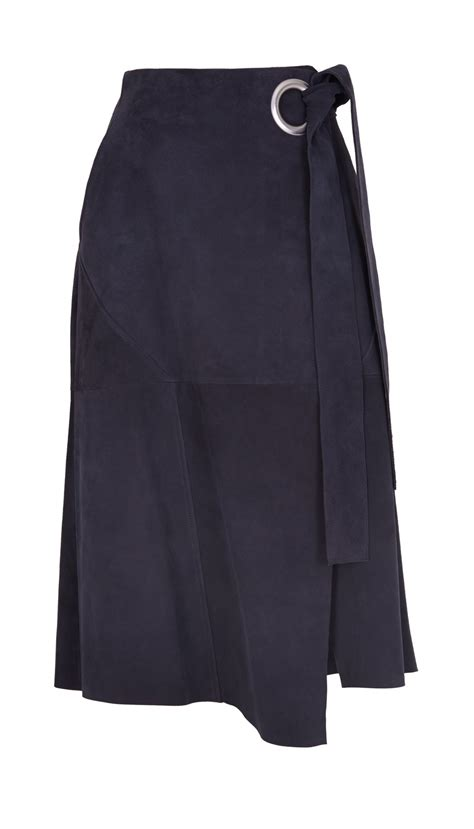 tibi suede wrap skirt in blue tundra navy lyst