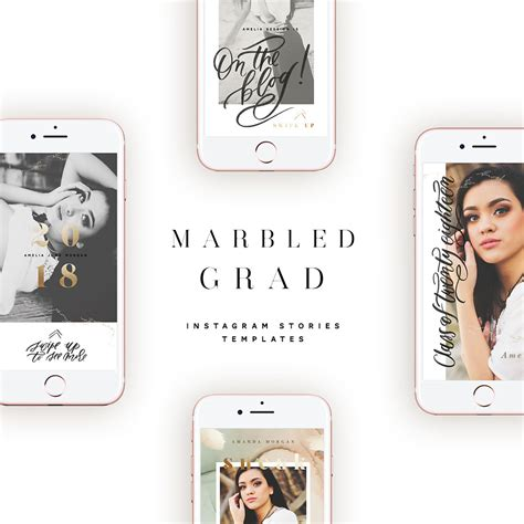 Marbled Grad Instagram Stories Templates Oh Snap Boutique Create Insta Story Templates