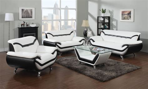 modern white leather sofas with black trim